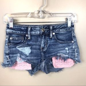American eagle denim distressed shorts Shortie 00